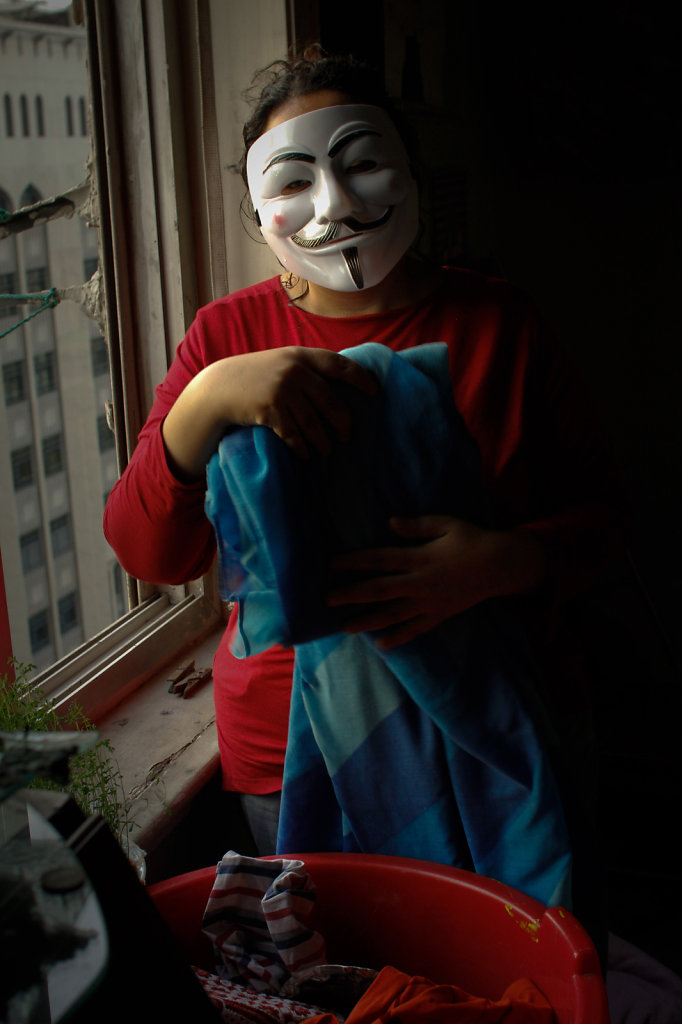 I Wear a mask of vendetta while I do my duties at home